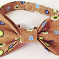 Brown Male Dog & Cat Bow Tie Collar with Dotted Pattern