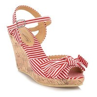 Red striped wedge sandals - High heel shoes - Shoes & boots - Women -