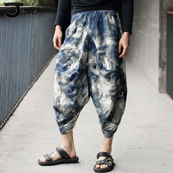 mens joggers 2016 summer new mens jogger pants cotton linen floral harem pants men Men's retro original tie-dyed harem pants
