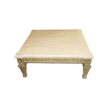 Pre-owned Square Travertine Coffee Table