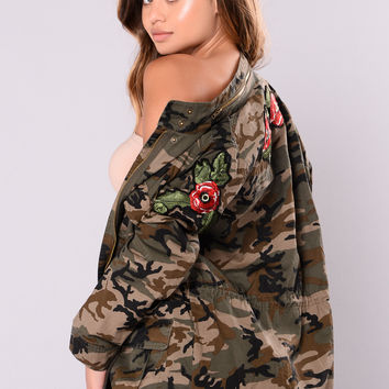 Femme Floral Military Jacket - Camo