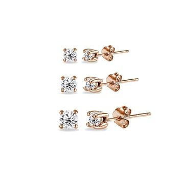 3 Pair Set Round CZ Stud Earrings in Rose Gold Plated 925 Silver 2mm 3mm 4mm