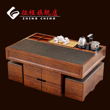 Chinese marble wood burning stone tea table living room coffee tables and chairs combination cooker teasideend