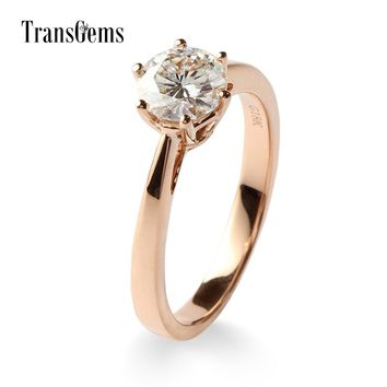 14KT Rose Gold Luxury Colorless Lab Diamond Solitaire
