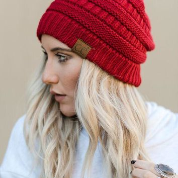 Knitted Pull On Beanie - Red