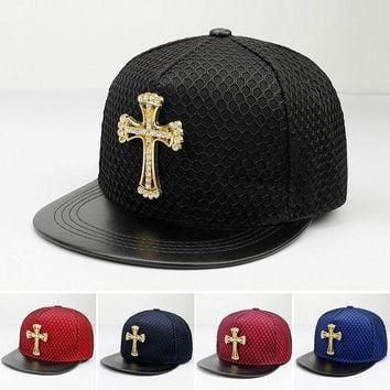ONETOW 2017 Fashion Summer Brand cross rhinestone Baseball Cap Hat For Men Women Teens Casual Bone Hip Hop Snapback Caps Sun Hats