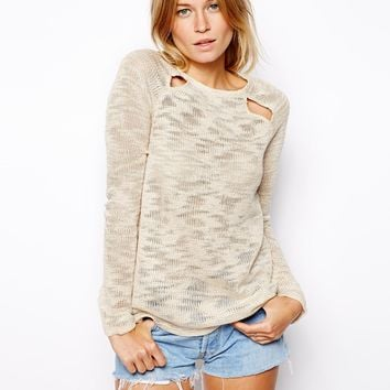 ASOS Sweater In Slub With Cut Out Detail - Cream