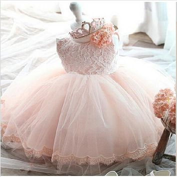 Elegant Girl Dress Girls 2018 Summer Fashion Pink Lace Big Bow Party Tulle Flower Princess Wedding Dresses Baby Girl dress
