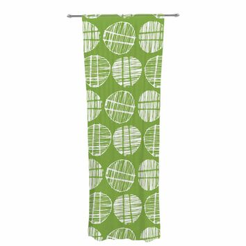 "Gill Eggleston ""Sketched Pods Green"" Green White Abstract Modern Digital Vector Decorative Sheer Curtain"