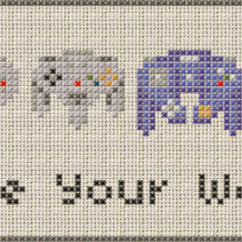 Nintendo Controllers -- Choose Your Weapon -- Cross Stitch Pattern