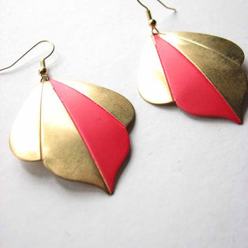 botanical brass & neon pink leaf earrings - tropical summer jewelry boho