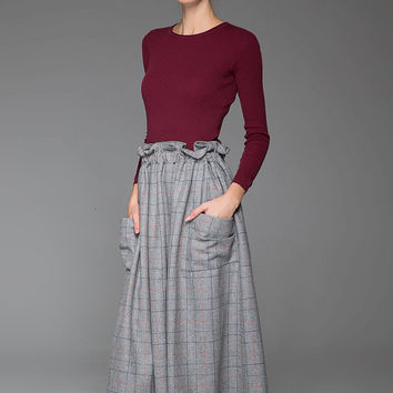 Gray Lattice Skirt Wool Skirt Winter Skirt Maxi Wool Skirt High Waist Skirt With Side Pockets and Pleated (1437)