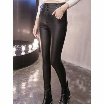High Waist Buttoned Fleece Leather Pants - Black L
