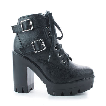 Jonas07 Black Pu By Bamboo, Women Combat Ankle Bootie, High Block Heel, Faux Fur Lining, Lace Up