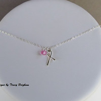 Breast Cancer Awareness SS Handmade Ribbon Pendant Swarovski Pink Crystal Necklace Best Friend Mother Sister Aunt Grandmother Charity Gift