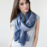 Dip Dye Scarf in Chambray