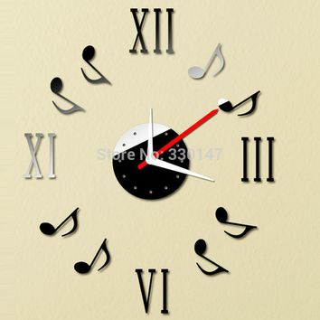 Musical Note Roman Numerals  50cm Acrylic Reflective Mirrors Wall Clock