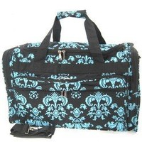 "16"" Black Blue Damask Print Duffle Dance Gym Bag Luggage Carry On"