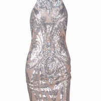 Damask Racerneck Bodycon Dress - Silver