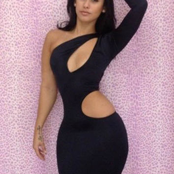 Black One Shoulder Sleeve Cut Out Bodycon Midi Dress