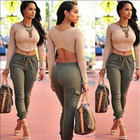 Nude Crop Top  Army Green Drawstring Pants Set