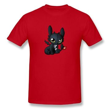 Chibi Toothless How To Train Your Dragon Night Fury Dragon Mens Breathable Short Sleeve Shirts