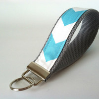 Aqua Grey Chevron Key Fob - Chevron Wristlet Keychain, Wrist Strap, Key Holder, Turquoise White Key Chain