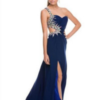 PRIMA Glitz GZ1528 Jewel Lined Cut Out Backless Prom Dress