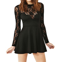 Black Long Sleeve Lace Skater Dress
