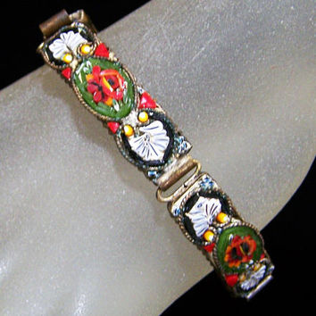 Italian Micro Mosaic Bracelet, Multi Color Glass Pieces, Murano Venetian Jewelry, Floral Design As Found 1117g