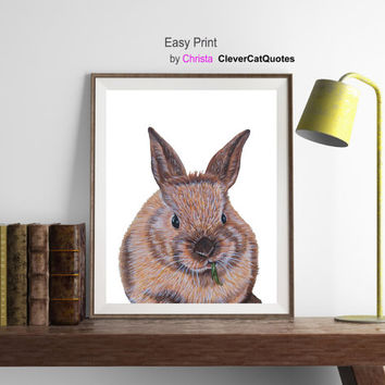 Bunny print, Bunny printable, Bunny painting, Easter bunny, Wall decor, Kids room decor, Animals print, Bunny art, Greeting cards, Download