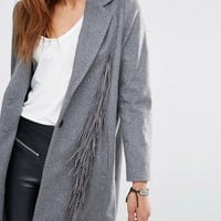 Religion Wool Overcoat With Tassels