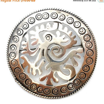 35% Sale Sterling Silver Taxco Serpent Brooch Aztec Maya Mexican