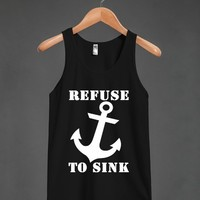 refuse to sink blk/wht tank top-JH - glamfoxx.com - Skreened T-shirts, Organic Shirts, Hoodies, Kids Tees, Baby One-Pieces and Tote Bags