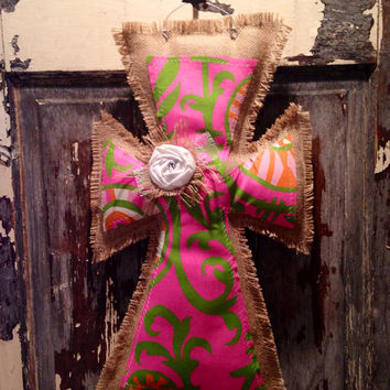 Pink and green Burlap Cross