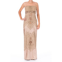 Sue Wong Womens Embellished Strapless Semi-Formal Dress