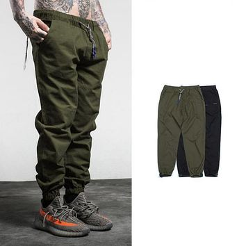 PUNKOOL Harem Pants Men Casual Skinny Elastic Belt Sweatpants Solid Hip Hop High Street Trousers Pants Men Joggers  Pants