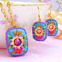 Mexican Embroidery Earrings, Colorful Polymer Clay Flower Earrings, Colorful Kawaii Dangle Earrings, Mexican Jewelry, Polymer Clay Jewelriy