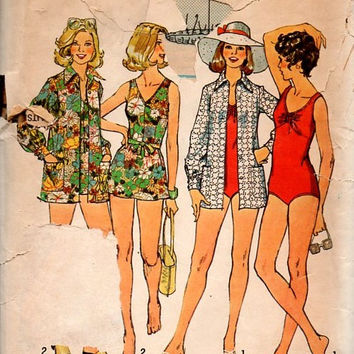 1970s Bathing Suit Sewing Pattern Simplicity One Piece Swimsuit Beach Cover-up Summer Shorts V Neck Swim Suit Bust 42 Plus Size