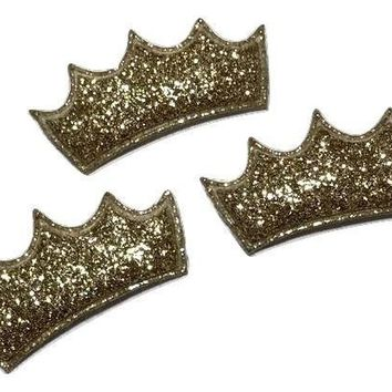 "Gold glitter 1.5"" princess crown padded appliqué"