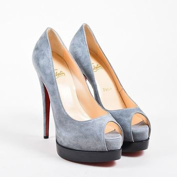 ONETOW Grey Suede Christian Louboutin  Palais Royal Trepointe 140  Pumps