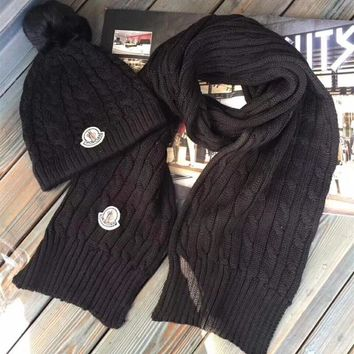 """Moncler"" Unisex Fashion Simple Logo Embroidery Knit Solid Color Wool Hat Scarf Couple Set Two-Piece"