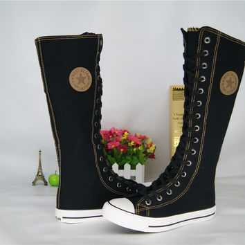 Fashion Girl's Canvas Shoes Boots Women Knee High Canvas Shoes Big Size 35-43 White Black Red Hand Painted Candy Colors Booty gg