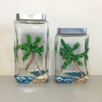 Canister Set of Two with Hand Painted Palm Trees
