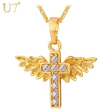 U7 Angel Wings Cross Pendant Necklace Gold Color Crystal Christian Jewelry Christmas Gifts For Women P597