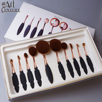 10 PCS Per Set Tooth Brush Shape Oval Makeup Brush Set MULTIPURPOSE Makeup Brushes