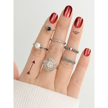 At-Silver Simple Pearl Ring  6-Pieces Set