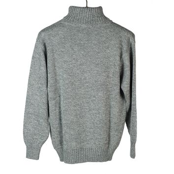 """Tweed"" marled grey alpaca & silk rollneck sweater 