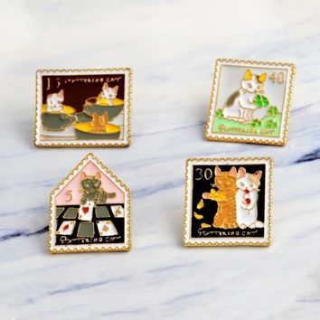 Miss Zoe Cat Stamp Vintage Cartoon Cat pins Cat brooches Cute Animal Pin Denim Jacket cap Pin Buckle Shirt Badge Gift for Friend