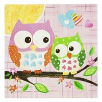 Oopsy Daisy too Love n Nature Owl Pair Wall Art - 21x21""